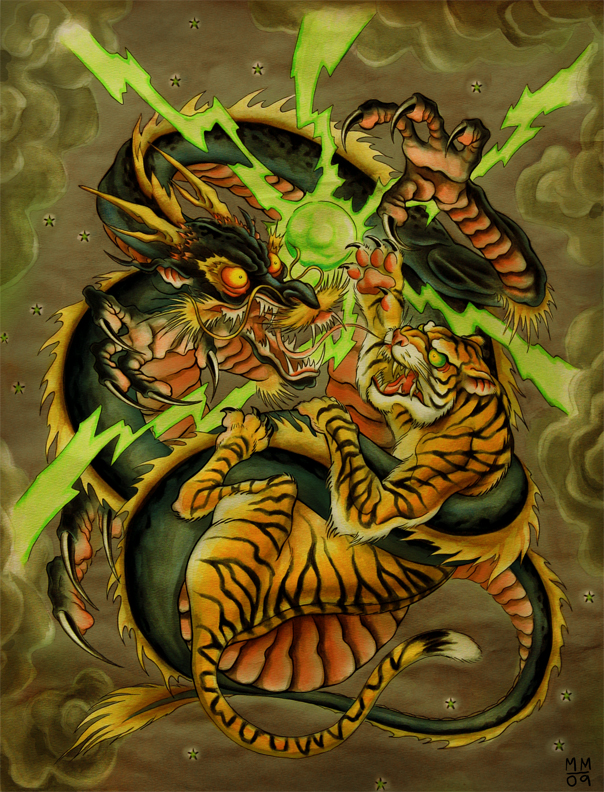 Japanese tiger dragon art the compass rose dragon